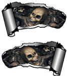 Small Pair Ripped Torn Metal Gash Design & Gothic Skull Inside Vinyl Car Sticker 93x50mm each